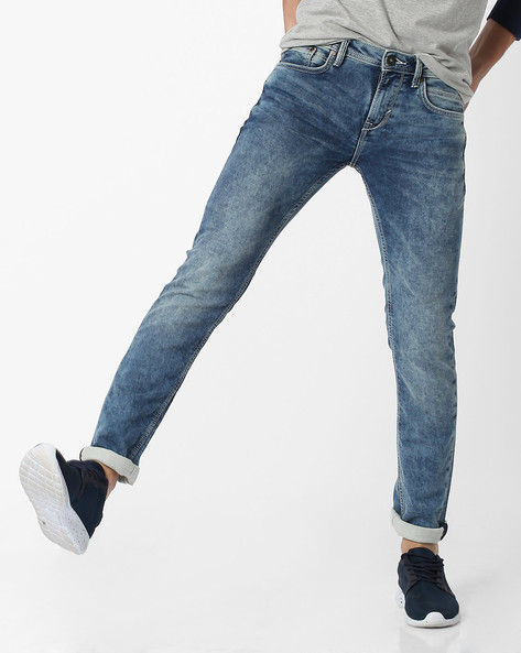 Acid-Washed Slim Fit Jeans By Celio ( Blue )