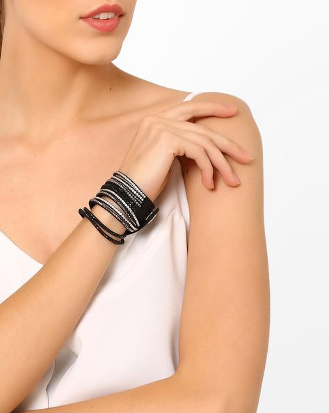 Faux-Leather Studded Bracelet By Ayesha ( Black )