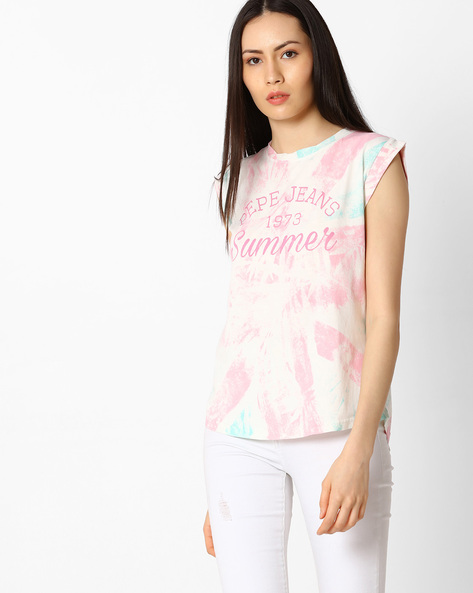 Union Jack Print Sleeveless T-shirt By Pepe Jeans ( Offwhite )