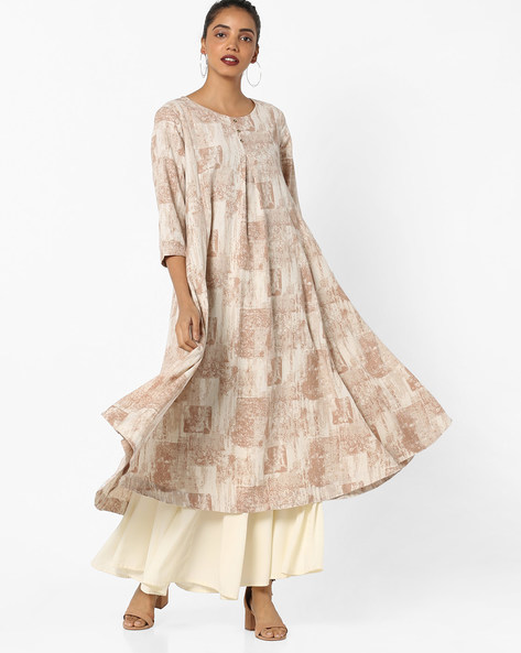 Printed Flared Kurta By Project Eve IW Casual ( Offwhite )