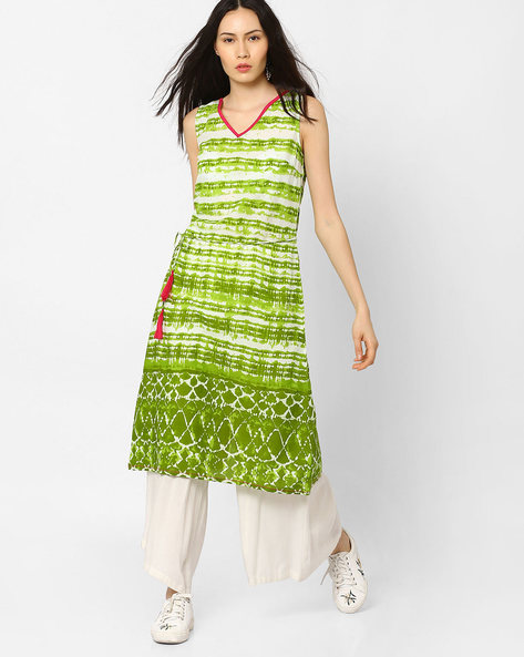 Slim Fit Printed A-line Dress By AJIO ( Olive )