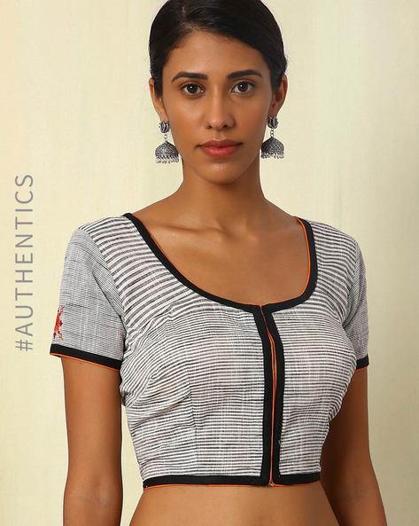 Handwoven Embroidered Cotton Blouse By Indie Picks ( Multi )