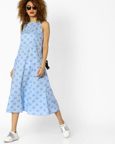 Printed Sleeveless A-line Dress By AJIO ( Lightblue )