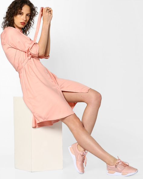 Shirt Dress With Waist Tie-Up By Project Eve WW Casual ( Peach )