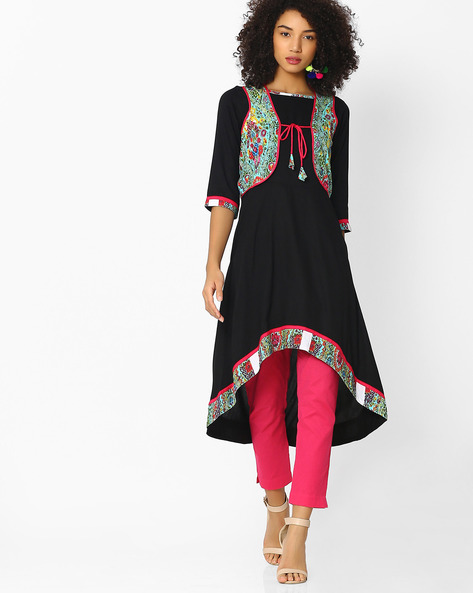 High-Low Kurta With Floral Print Waistcoat By AYAANY ( Black )