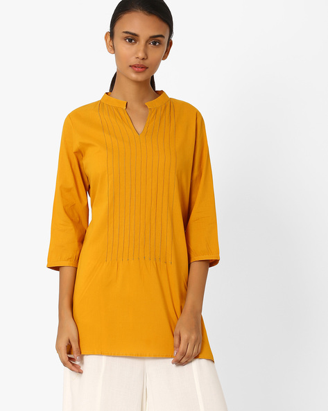 Straight Kurta With Mandarin Collar By Jiyaa ( Yellow )