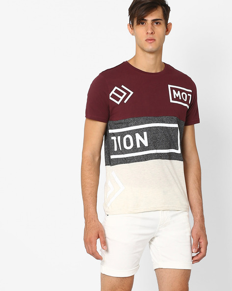Slim Fit Colourblock Crew-Neck T-shirt By AJIO ( Maroon )