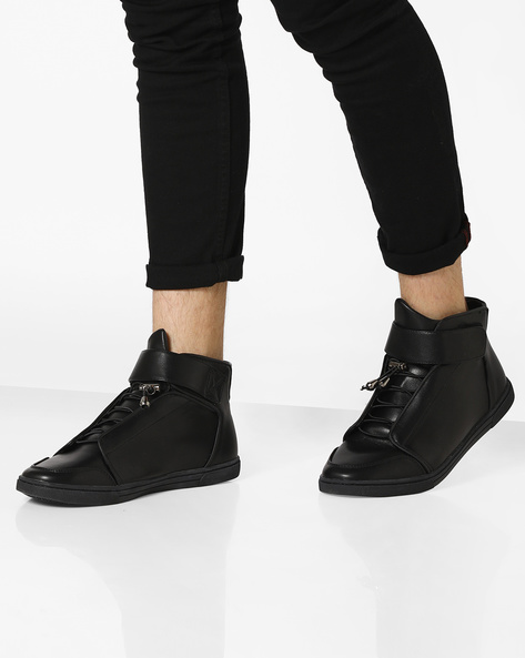 Mid-Top Sneakers With Velcro Strap By AJIO ( Black )