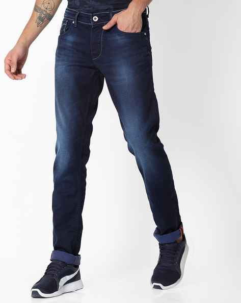 Mid-Rise Straight Fit Jeans With 5-Pocket Styling By Killer ( Darkblue )