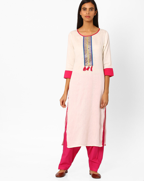 Straight Kurta With Contrast Hems By Indian Ink ( Offwhite )