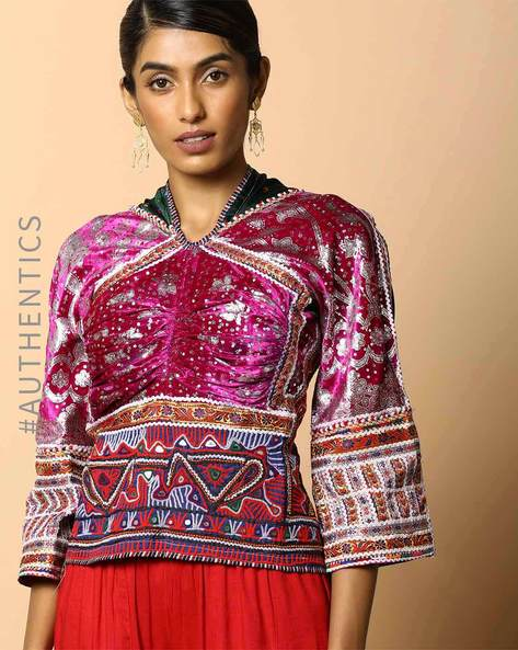 Kutch Embroidered Backless Blouse By Indie Picks ( Multi ) - 460103673001