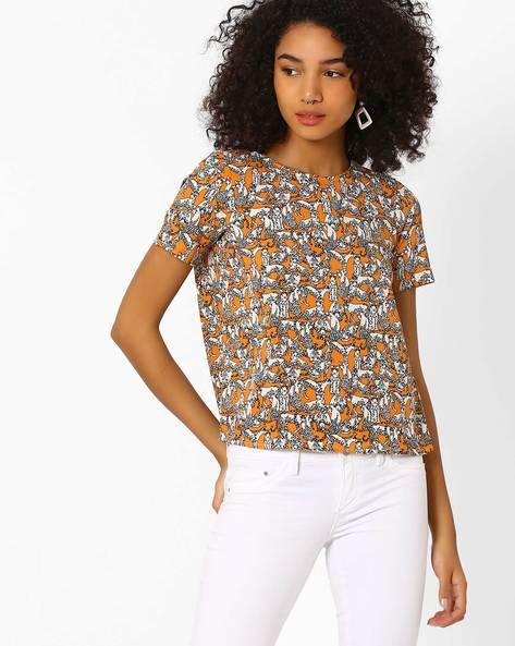Printed Top With Envelope Back By Only ( Orange )