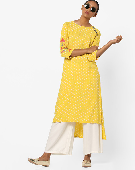 Printed Straight Kurta With Cross-Stitch Embroidered Sleeves By AJIO ( Mustard )