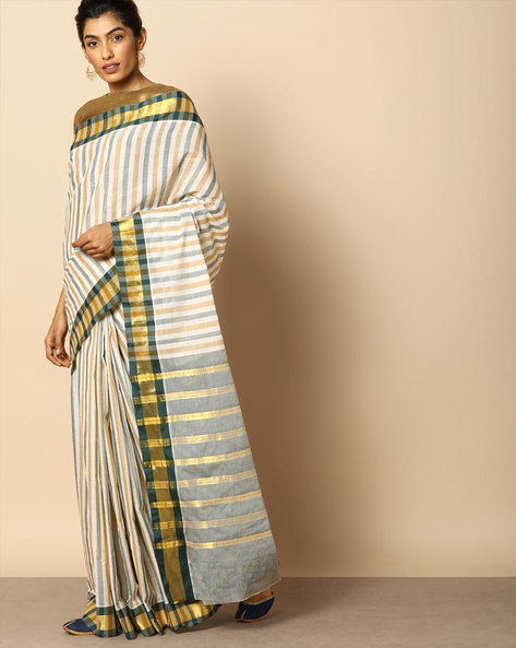 Kanchi Cotton Striped Saree With Woven Border By Indie Picks ( Multi )