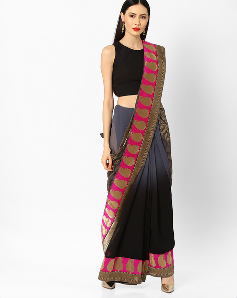 Ombre-Dyed Saree With Contrast Border By Arissa ( Grey )