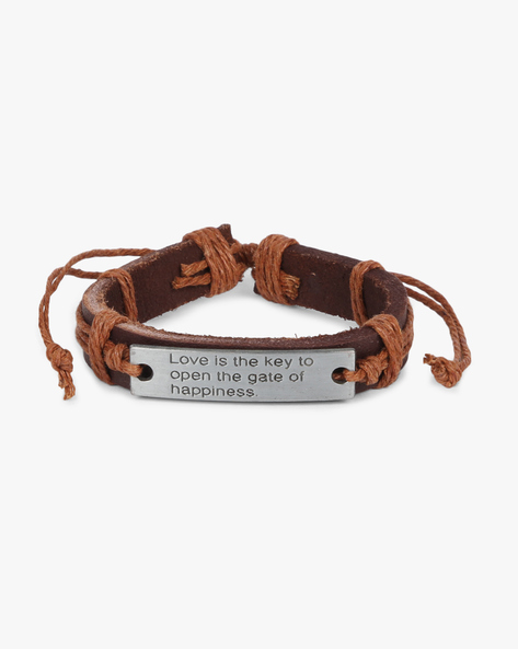 Bracelet With Metallic Accent By ALPHA MAN ( Brown ) - 460134296002