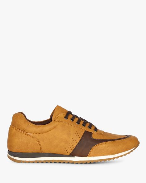 Panelled Lace-Up Shoes With Perforations By CLOZZ ( Tan )
