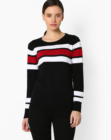 Striped Pullover With Ribbed Hems By TEAM SPIRIT ( Black )