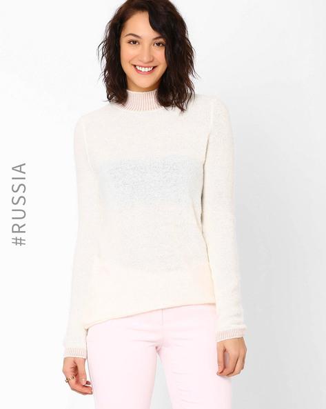 High-Neck Pullover By Kira Plastinina ( Offwhite )