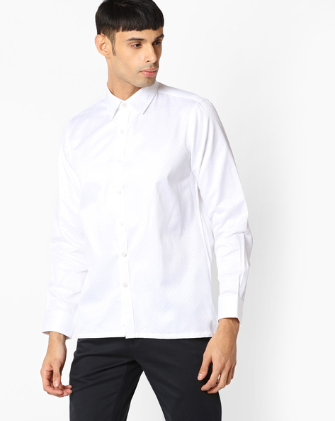 Regular Fit Shirt With Self-Design By VIMAL APPARELS ( White )