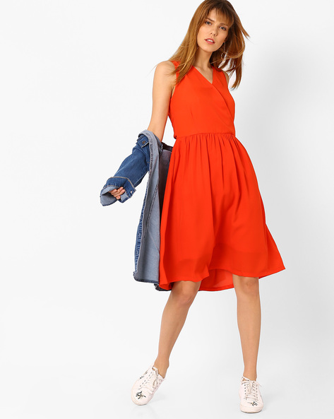 A-line Dress With Overlapping Neckline By AJIO ( Red )