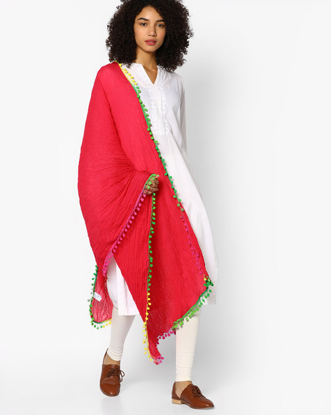 Crushed Dupatta With Pom-Poms By Melange By Lifestyle ( Fuchsia )