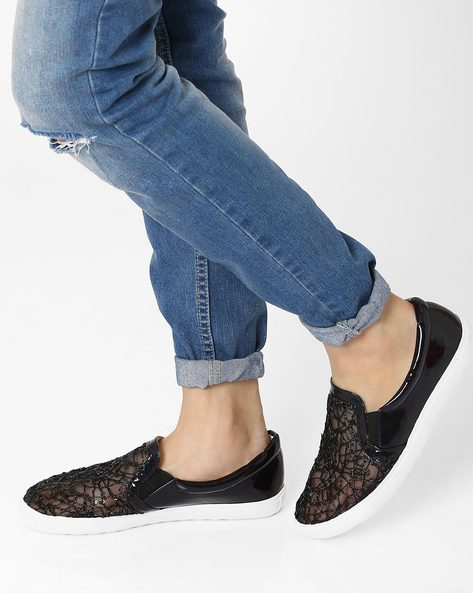 Sequinned Casual Shoes By AJIO ( Black )