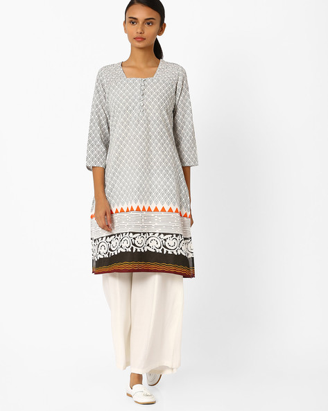 Printed Straight Kurta By Jiyaa ( Offwhite )