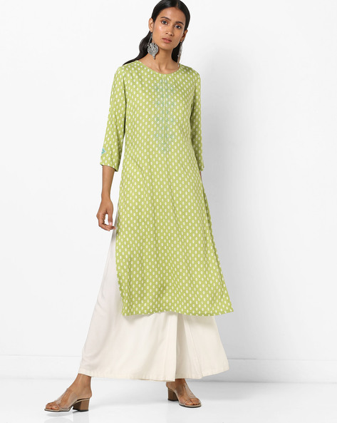 Printed Straight Kurta With Embroidery By AJIO ( Olive )