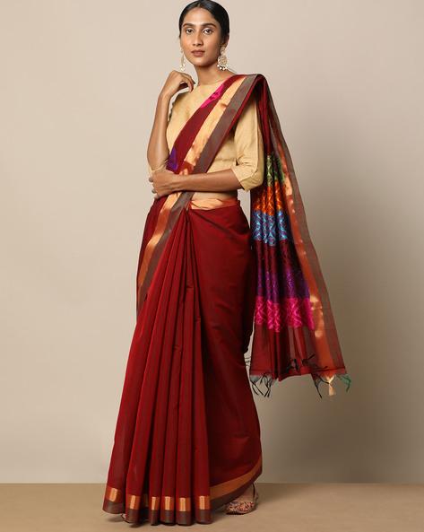 Mercerised Cotton Buti Saree With Zari Border By Indie Picks ( Rose )