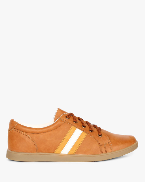 N9-Treated Lace-Up Sneakers By AJIO ( Beige )