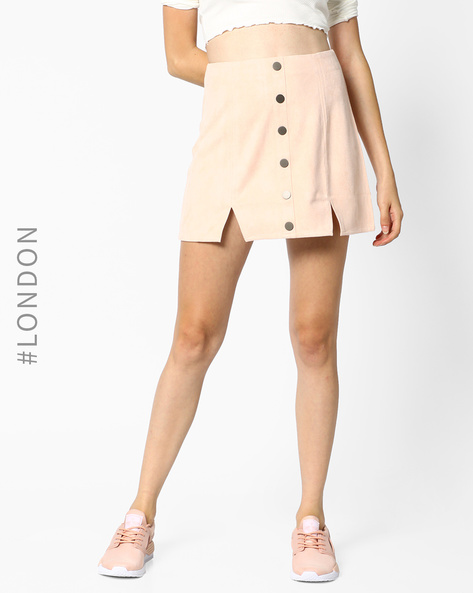 A-line Skirt With Front Slits By MDS ( Pink )