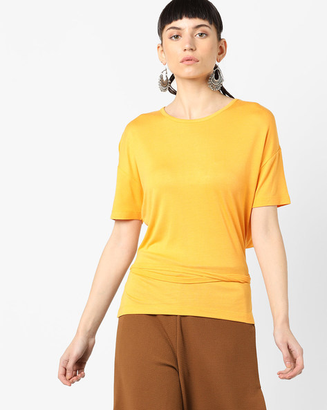 High-Low T-shirt With Waist Tie-Up By AJIO ( Yellow )