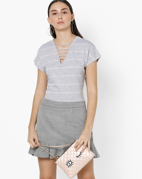 Striped V-neck Top With Cut-Outs By AJIO ( Grey )