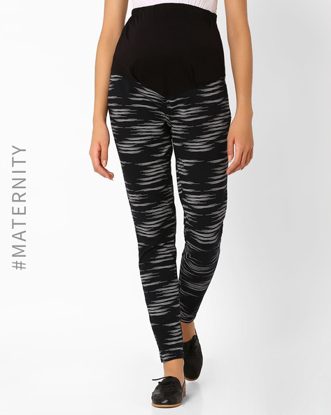 Printed Maternity Pants By Preggear ( Black )