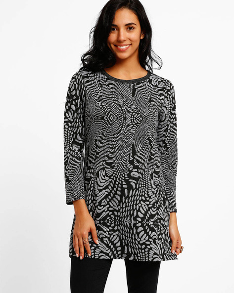 Abstract Print Tunic With Round Neck By FIG ( Black )