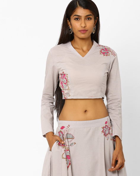 Crop Top With Floral Motifs By AJIO ( Grey )