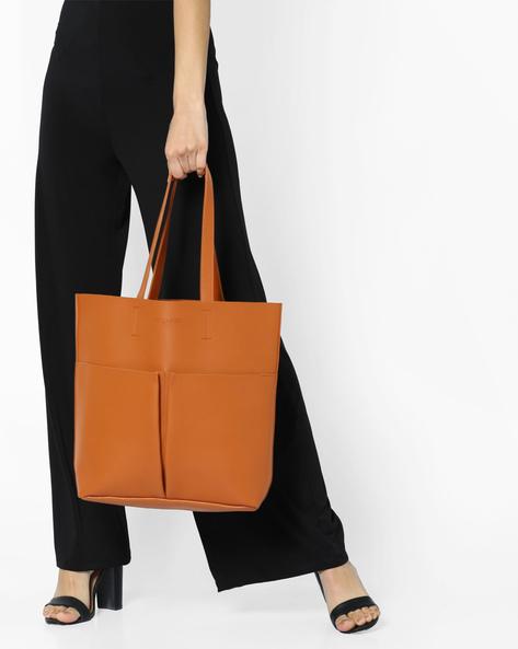 Structured Tote Bag By FUR JADEN ( Tan )