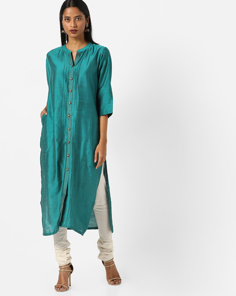 Collared Straight Kurta With Insert Pockets By Shree ( Teal )