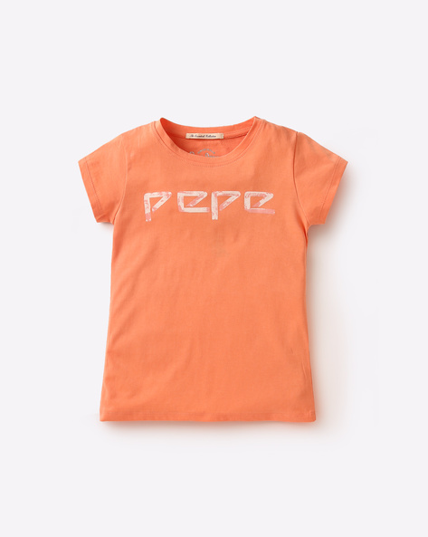 Printed Cotton T-shirt By PEPE ( Peach )