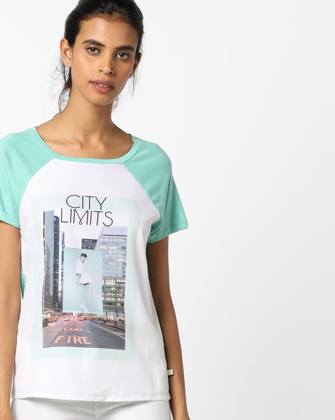 Printed T-shirt With Raglan Sleeves By UNITED COLORS OF BENETTON ( White )