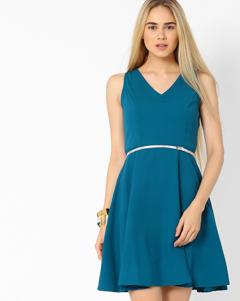 Fit & Flare Dress With Belt By AJIO ( Teal )