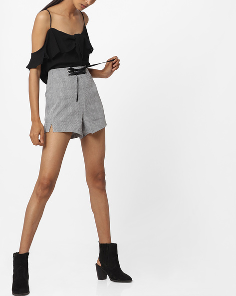 High-Waist Checked Shorts With Front Tie-Up By Ginger By Lifestyle ( Black )