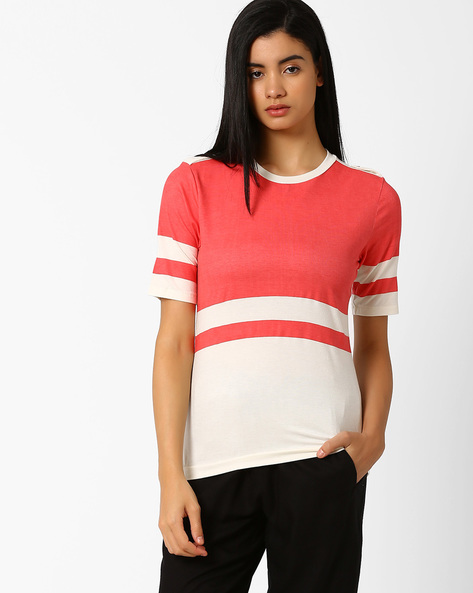 Colourblock Crew-Neck T-shirt By CHM ( Pink )