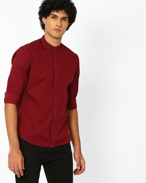 Cotton Shirt With Mandarin Collar By LEVIS ( Red )