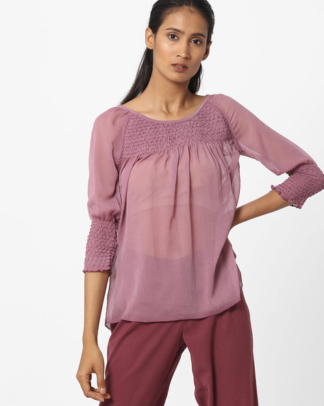Pleated Sheer Top With Raglan Sleeves By BOSSINI ( Purple )