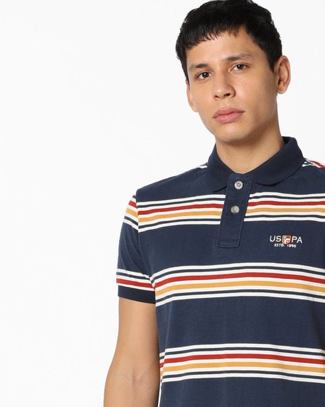 Yarn-Dyed Striped Polo T-shirt By US POLO ( Blue )