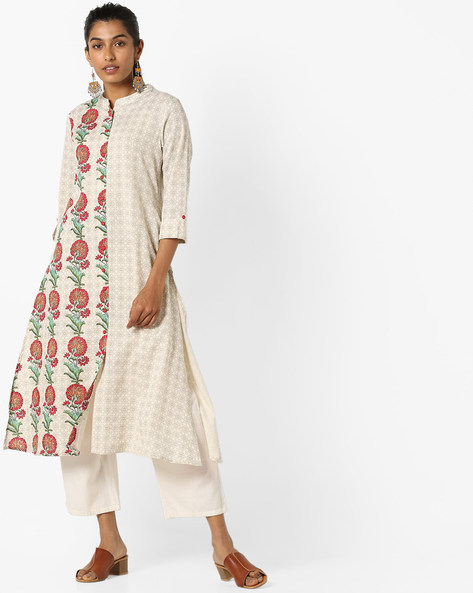 Printed Kurta With Front-Slit Hem By AVAASA MIX N' MATCH ( Offwhite )