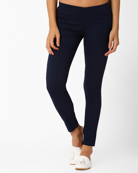 Slim Fit Trousers With Elasticated Waistband By Izabel London By Pantaloons ( Navyblue )