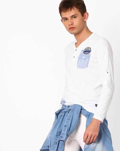Slub Knit Henley T-shirt By Killer ( White )